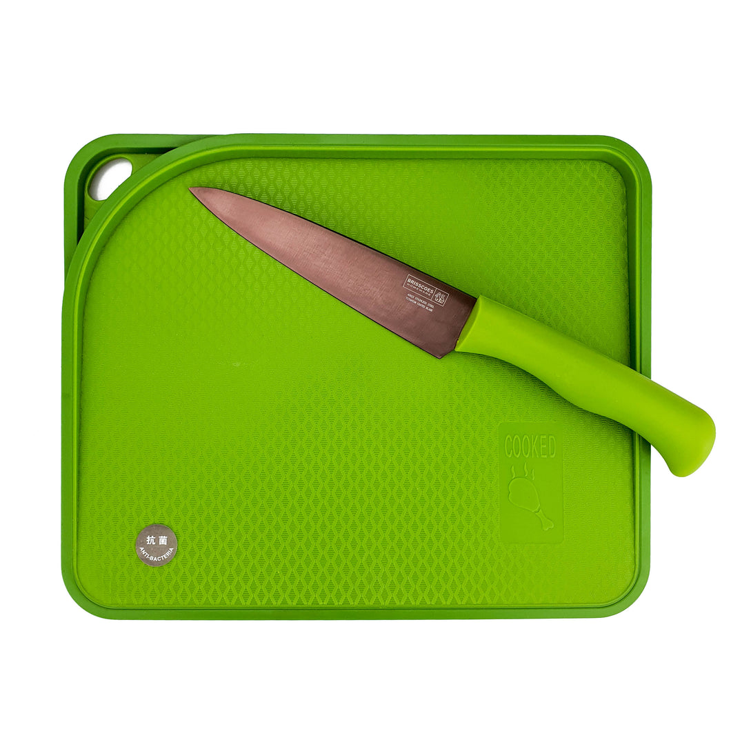BRISSCOES - Green Cutting Board and Titanium Coated Chef's Knife 6