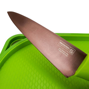 BRISSCOES - Green Cutting Board and Titanium Coated Chef's Knife 6""