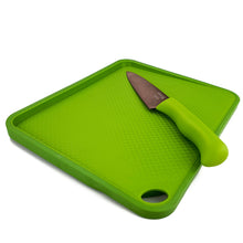 Load image into Gallery viewer, BRISSCOES - Green Cutting Board and Titanium Coated Chef's Knife 6""