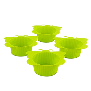 BRISSCOES - Green Silicon Cupcake Moulds x4