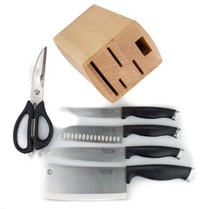 BRISSCOES - 4 Piece Knife & Scissor Set with Wooden Knife Block