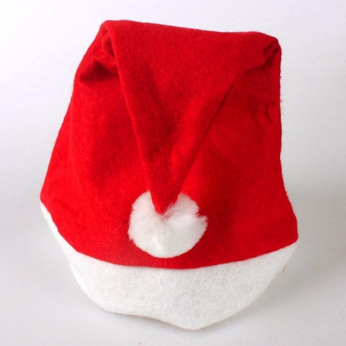 12pcs Adult Unisex Xmas Red Caps Santa Novelty Hat