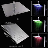 10 Inch Square Rainfall LED Shower Head, Without Shower Arm - Cascada Showers