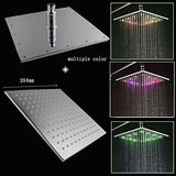 "10"" Luxury Rainfall LED Square Shower Set, Massage Jets Spray - Cascada Showers"