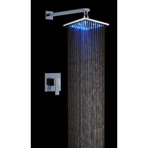 "10"" Rain Square Shower Set with Wall Mount Shower Arm - Cascada Showers"