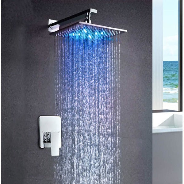 "10"" Square Wall Mounted Thermostatic Shower System LED Automated - Cascada Showers"