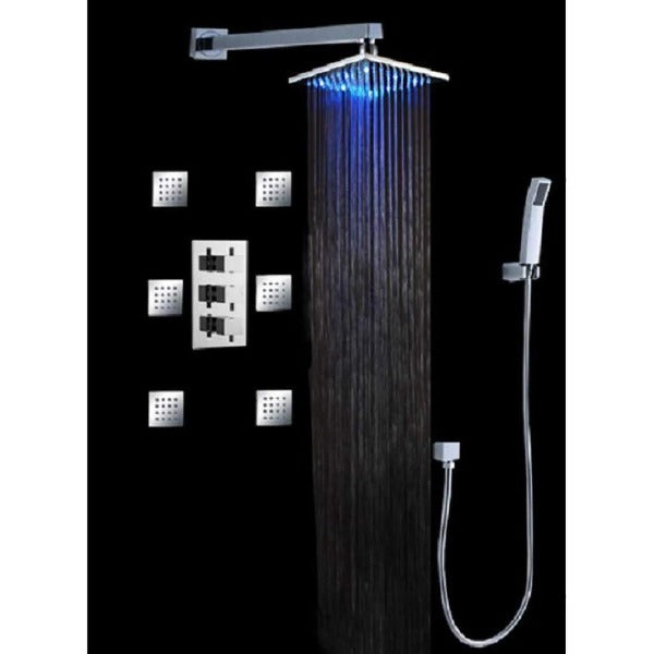 "12"", Luxury Wall Mount Rainfall Thermostatic LED Shower Set - Cascada Showers"