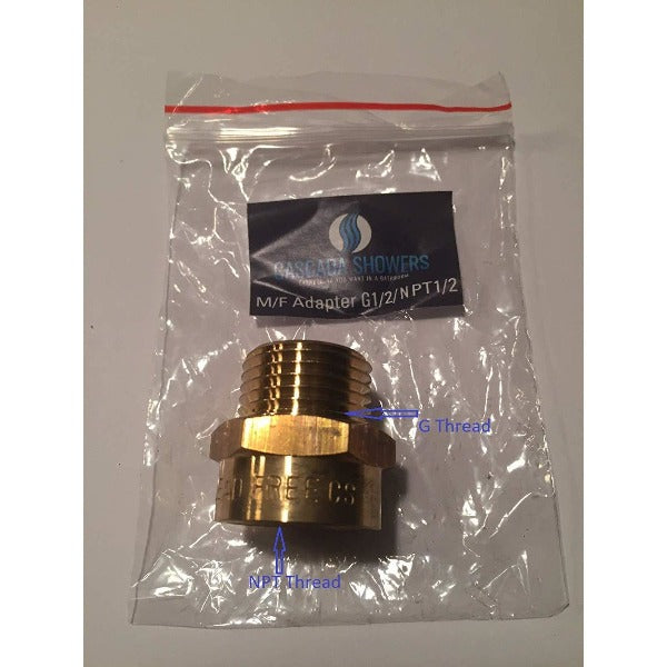 "1/2"" Male to 1/2"" NPT Thread Female Pipe Fitting Adapter - Cascada Showers"