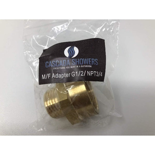 "1/2"" Male to 3/4"" NPT Thread Female Pipe Fitting Adapter - Cascada Showers"