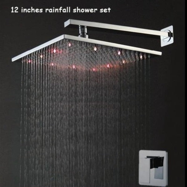 "12"" Rainfall Shower Set Head, Wall Mount Shower Arm - Brass Shower Head - Cascada Showers"