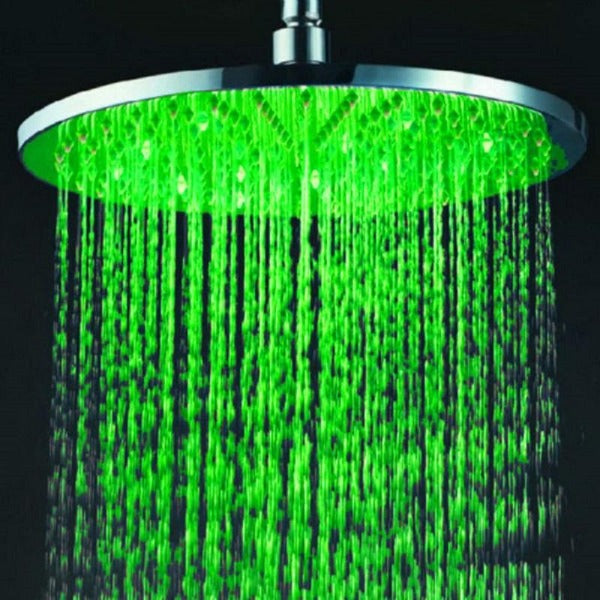 "12"" Round Rainfall LED Shower Head Stainless Steel - Cascada Showers"