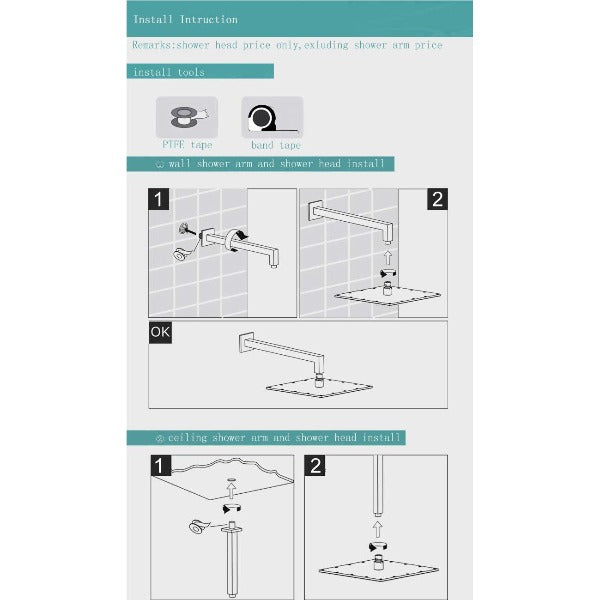 "12"" Square Ceiling Mount Rainfall LED Shower Head, include Shower Arm - Cascada Showers"