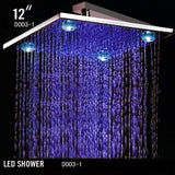 "12"" Square Rainfall LED Shower Head Stainless Steel with Chrome Finish - Cascada Showers"