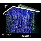 "12"" Stainless Steel with Chrome Finish Square Rainfall LED Shower Head - Cascada Showers"