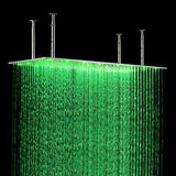 "12""x24"" Rainfall LED Shower Set Double-Function Valve, Brass Handheld Shower - Cascada Showers"