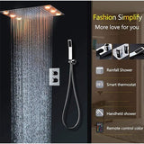 "14""x20"" Ceiling Mounted Rainfall LED Thermostatic Shower Set - Cascada Showers"