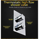 "14""x20"" Ceiling Mounted Thermostatic LED Rain Shower System - Cascada Showers"
