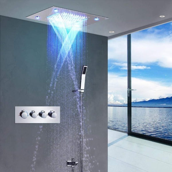 "14""x20"" Rectangle LED Ceiling Mounted 4 Rainfall Mode Shower System - Cascada Showers"