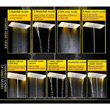 "15"" x 28"" LED Waterfall Luxurious Recessed 4 Types Rainfall Shower System - Cascada Showers"