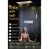 "15""x28"" Ceiling Mounted LED Thermostatic Multi Function Shower System - Cascada Showers"