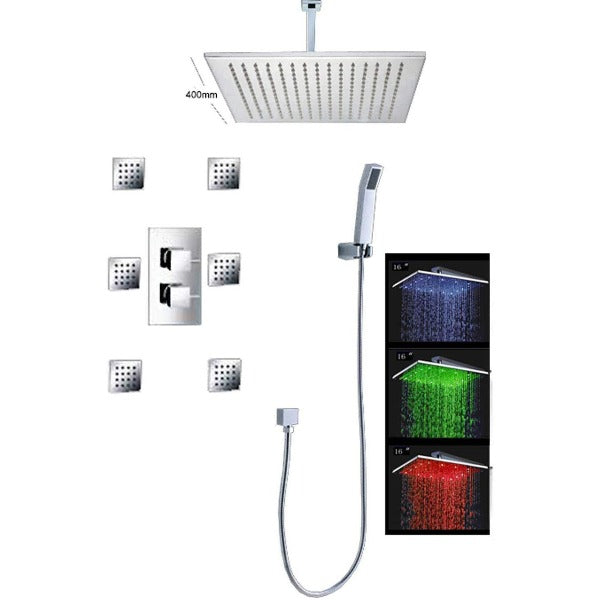 "16"" Ceiling Mount Luxury Shower Set, 6 Massage Jets Spray - Cascada Showers"