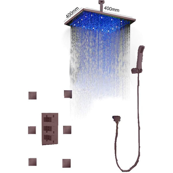"16"" Ceiling Mount Rainfall Thermostatic Shower Set Oil Rubbed Bronze - Cascada Showers"
