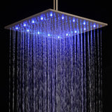 "16"" Ceiling Mount Square Rainfall LED Shower Head, Stainless Steel - Cascada Showers"