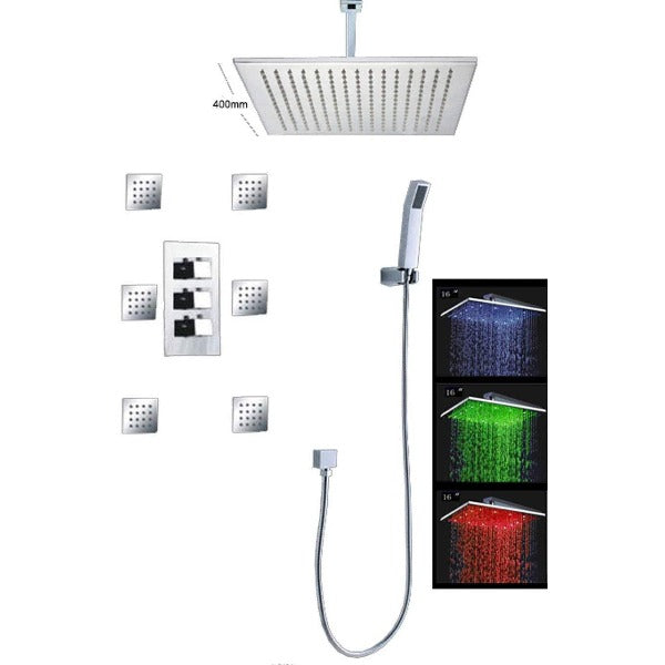 "16"" Luxury Ceiling Mount LED Rainfall Thermostatic Shower Set - Cascada Showers"