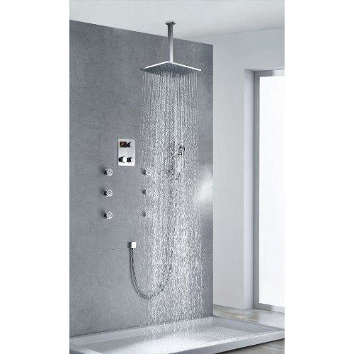 "16"" Luxury Rainfall Square Shower Head Set, 6 Massage Jets Spray - Cascada Showers"