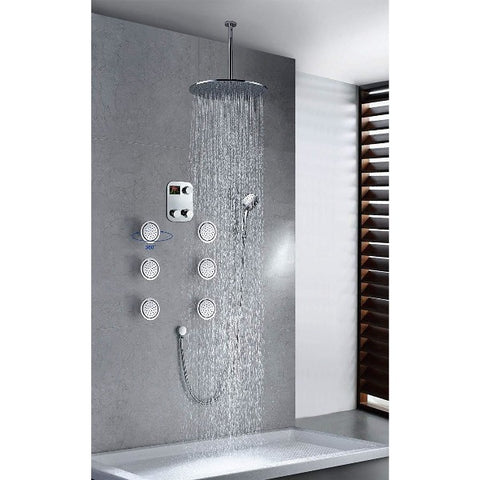 "16"" Luxury Thermostatic Rainfall Shower Set, 6 Massage Jets Spray - Cascada Showers"