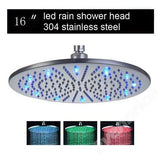 "16"" Stainless Steel Ceiling Mount Round Rainfall LED Shower Head - Cascada Showers"