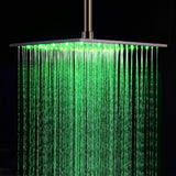 "16"" Stainless Steel Ceiling Mount Square Rainfall LED Shower Head - Cascada Showers"