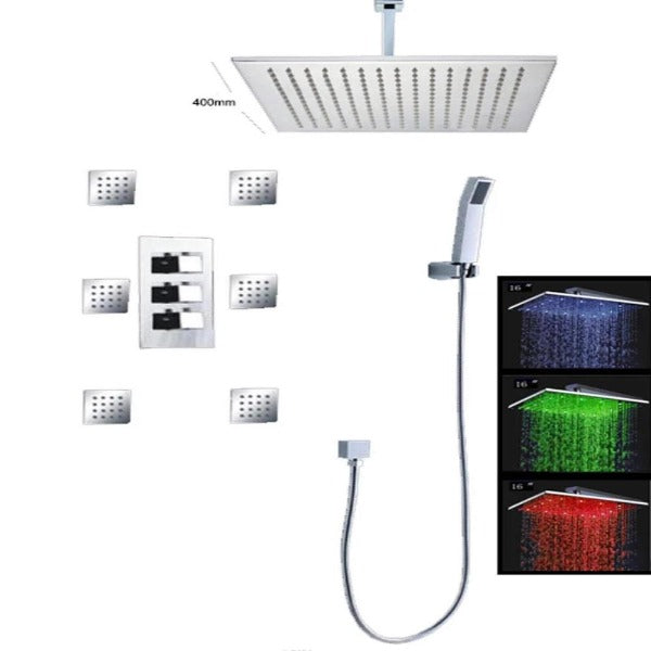 "16"" Thermostatic Rainfall Water Power LED Shower System Head Set - Cascada Showers"