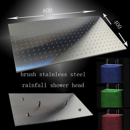"16""x31"" Ceiling Mount Rainfall LED Shower Head include Shower Arm - Cascada Showers"