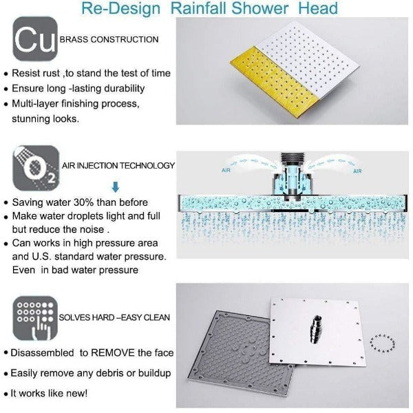 "16""x31"" Rainfall LED Shower Set Double-Function Valve Brass Handheld Shower - Cascada Showers"
