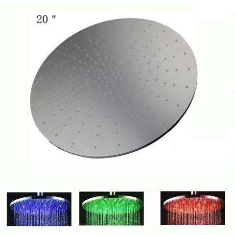 "20"" Ceiling Mount Round Rainfall LED Shower Head, Stainless Steel - Cascada Showers"