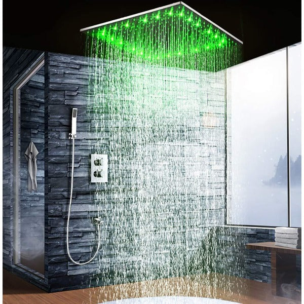 "20"" Ceiling Mounted Thermostatic Shower System LED Rainfall - Cascada Showers"