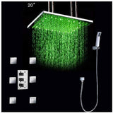 "20"" Luxury Ceiling Mount LED Rainfall Thermostatic Shower Set - Cascada Showers"