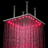 "20"" Rainfall LED Luxury Shower Set, Brushed Nickel Finish - Cascada Showers"