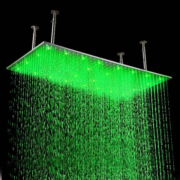 "20"" X 39"" Luxury Rectangular LED Rain Shower Head Brushed Stainless Steel - Cascada Showers"