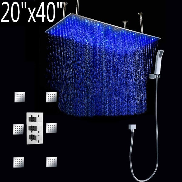 "20""x40"" Luxury Ceiling Mount LED Rainfall Thermostatic Shower Set - Cascada Showers"