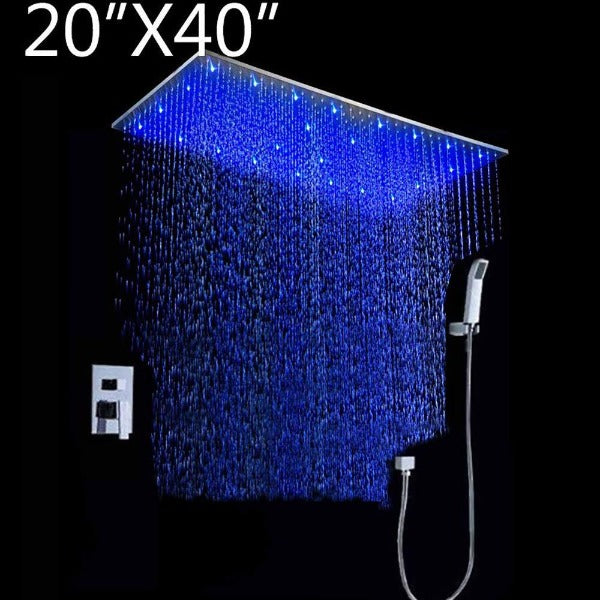 "20""x40"" Rainfall LED Shower Set Double-Function Valve, Handheld Shower - Cascada Showers"