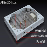 23 x 31 Inch (600x800 mm) LED ceiling-mount Rain Shower Head Set 4 Function - Cascada Showers