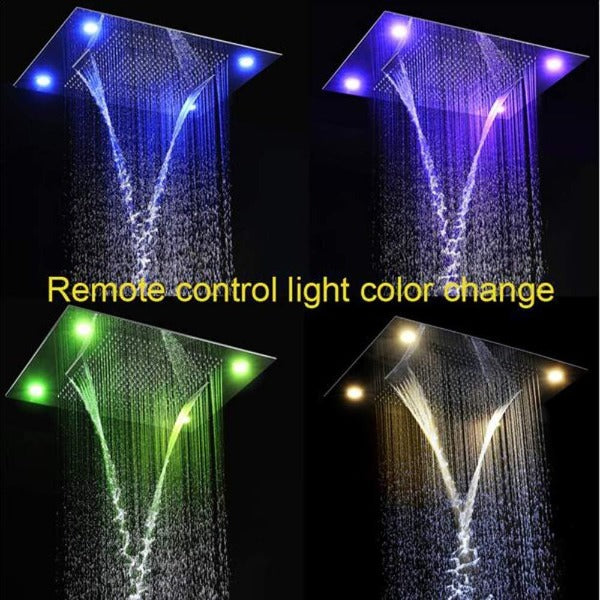 "23"" x 31"" LED Waterfall Rainfall Luxurious Recessed 4 Types Shower System - Cascada Showers"