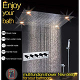 "23""x31"" Luxurious Rain LED Shower Set With 4 Function Shower Head - Cascada Showers"