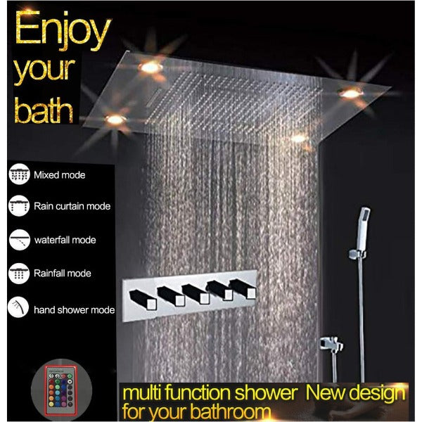 "23""x31"" Luxurious recessed rain & waterfall LED shower system – 5 mode - Cascada Showers"