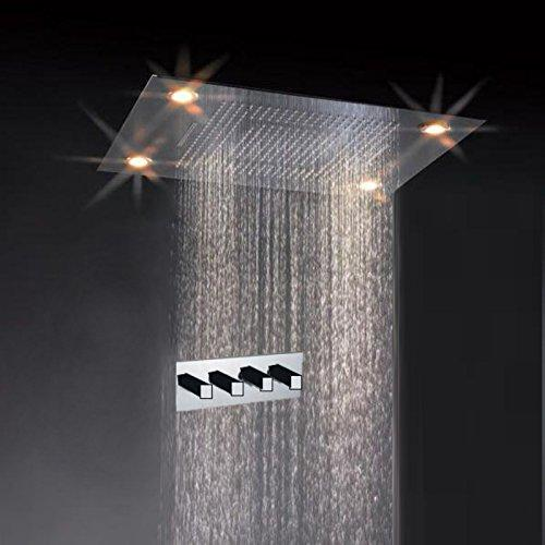 "23""x31"" Luxurious Waterfall LED Rain Shower Set Stainless Steel Polish - Cascada Showers"