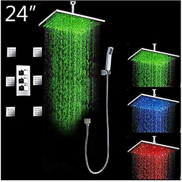 "24"" Luxury Ceiling Mount LED Rainfall Thermostatic Shower Set - Cascada Showers"