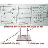"24"" Rainfall LED Shower Set Double-Function Valve Brass Handheld Shower - Cascada Showers"