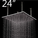 "24"" Square Ceiling Mount Rainfall LED Shower Head, include Shower Arm - Cascada Showers"